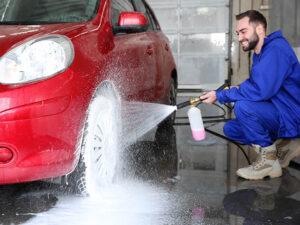 Foam cannon on pressure washer