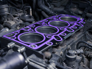 Block with installed cylinder head gasket