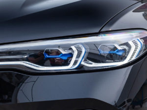 Black new BMW X7 xDrive40i 2019 year front led headlight view