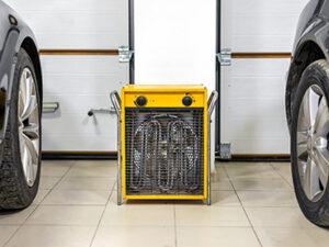 Big electric fan heater in double-car garage